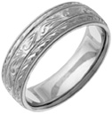 Hand-Etched Paisley Wedding Band Ring, White Gold