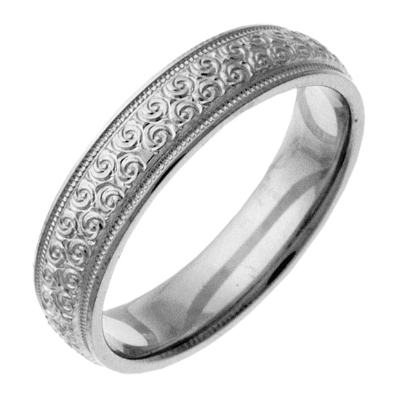 Hand-Etched Platinum Spiral Wedding Band