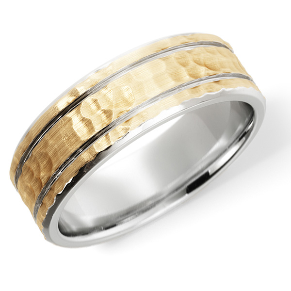 Handcrafted 14K Two-Tone Gold Contrasting Hammered Wedding Band Ring