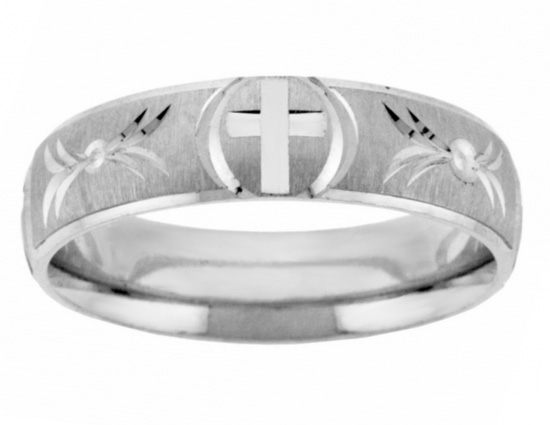 Handcrafted Christian Cross Wedding Band Ring