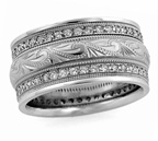 Handcrafted Diamond Paisley Wedding Band Ring