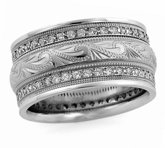 Handmade Sterling Silver White CZ Paisley Wedding Band Ring