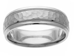 Platinum Handcrafted Hammered Wedding Ring
