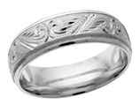 Handcrafted Paisley Wedding Band Ring in White Gold