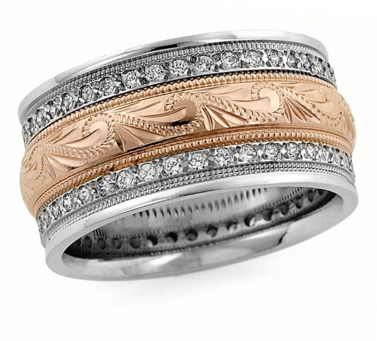 Handcrafted Rose-Gold Diamond Paisley Wedding Band Ring