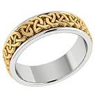 14K Two-Tone Gold Handmade Celtic Wedding Band Ring