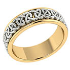 Handmade Celtic Knot Wedding Band Ring in 14K Two-Tone Gold