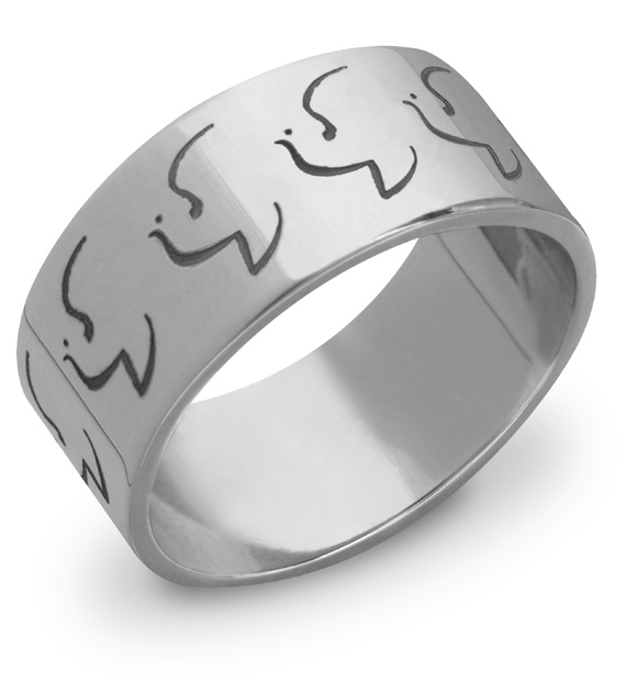 14K White Gold Holy Spirit Dove Wedding Band Ring