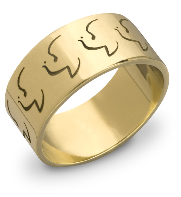 Holy Spirit Dove Wedding Band in 14K Yellow Gold