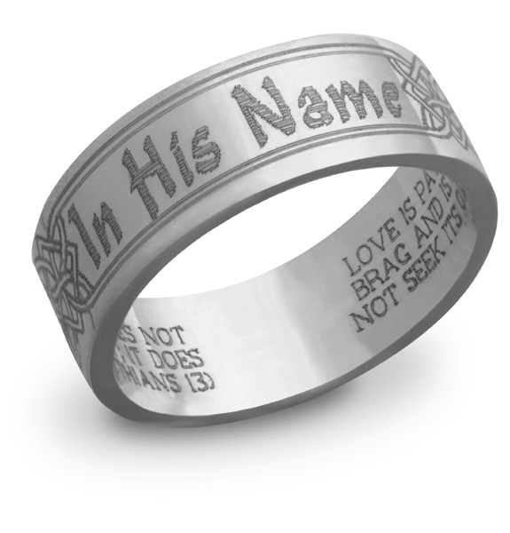 14k white gold In His Name Bible Verse Ring