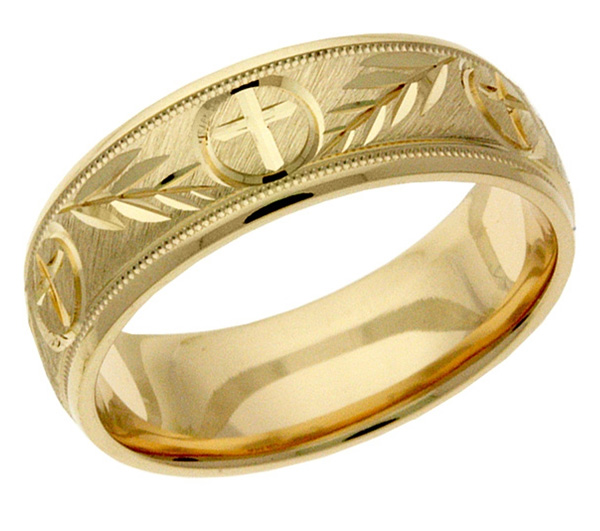 Gold Christian Cross and Leaves Wedding Band Ring