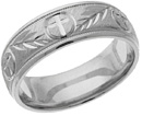Christian Cross and Branch Wedding Band Ring
