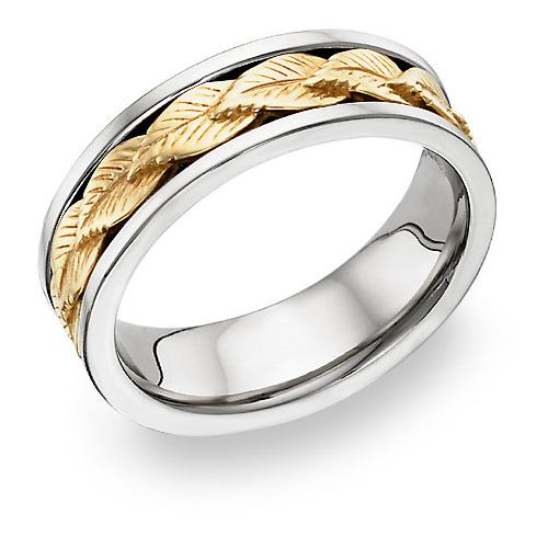 18K Two-Tone Wreath Design Wedding Band Ring