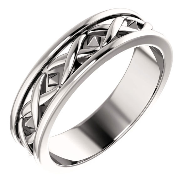 Men's 14K White Gold X-Pattern Wedding Band Ring