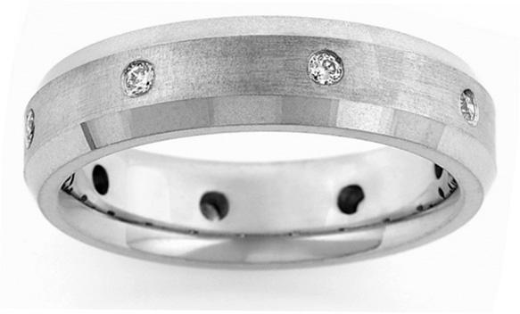 Men's Beveled Diamond Wedding Band Ring