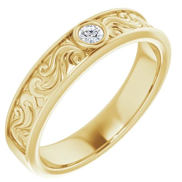 Men's Diamond Paisley Wedding Band Ring, 14K Gold