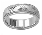 Peace Branches Wedding Band Ring in White Gold