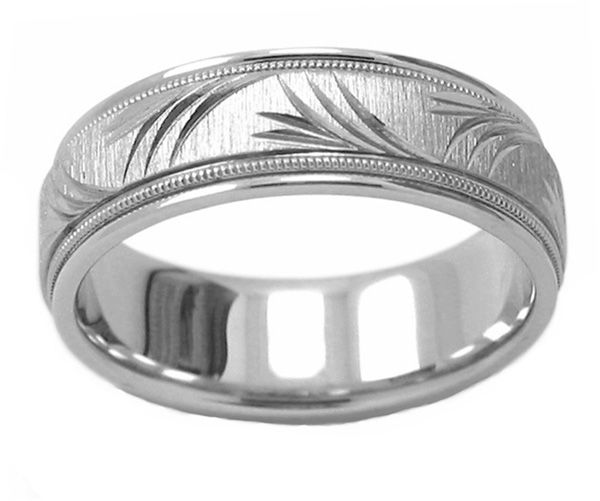 Platinum Peace Branch Wedding Band Ring