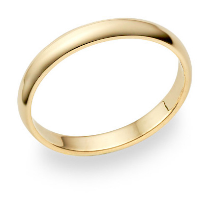18K Yellow Gold 3mm Plain Wedding Band Ring