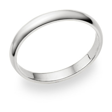 3mm Plain White Gold Wedding Band in 14K