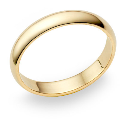 4mm plain gold wedding band in 14k