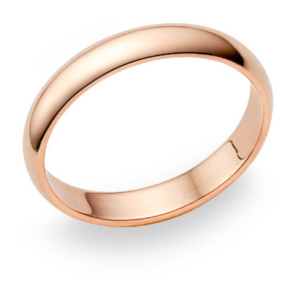 14K Rose Gold Wedding Band Ring (4mm)