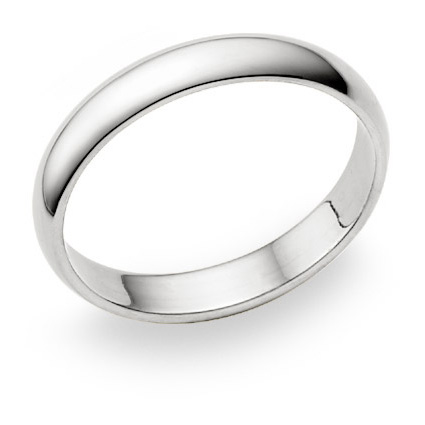 4mm Plain White Gold Wedding Band in 14K