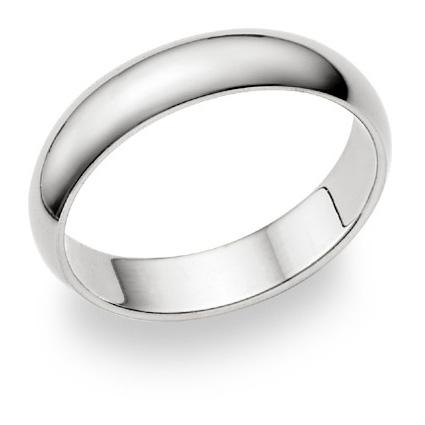 10K White Gold 5mm Plain Wedding Band Ring
