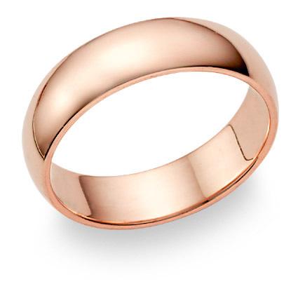 14K Rose Gold Wedding Band Ring (6mm)