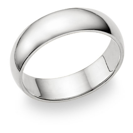 18K White Gold 6mm Plain Wedding Band Ring