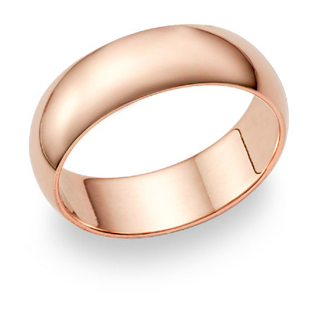 14K Rose Gold Wedding Band Ring (7mm)