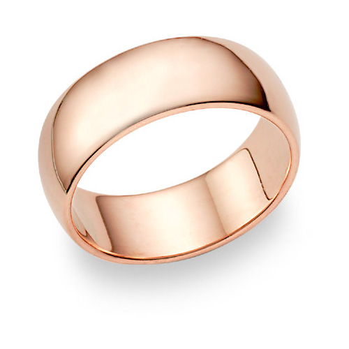 14K Rose Gold Wedding Band Ring (8mm)