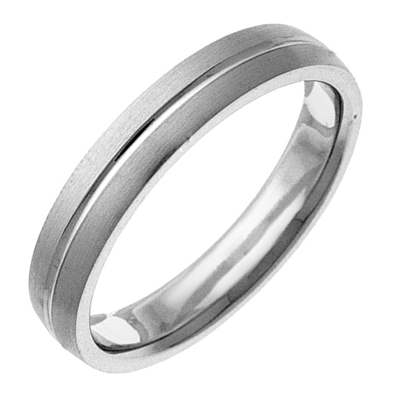 Polished Groove Sterling Silver Wedding Ring