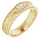 Princess-Cut Paisley Diamond Wedding Band Ring for Men, 14K Gold