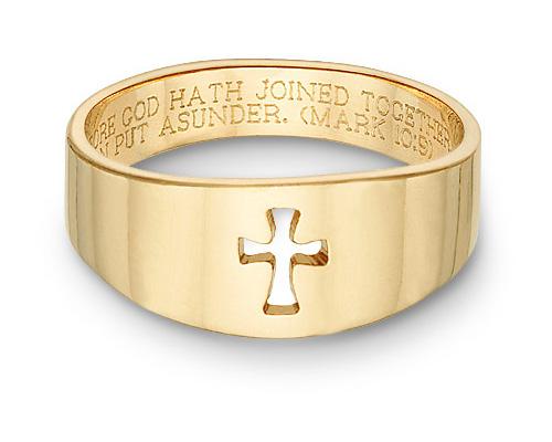 Romanesque Cross Bible Verse Ring