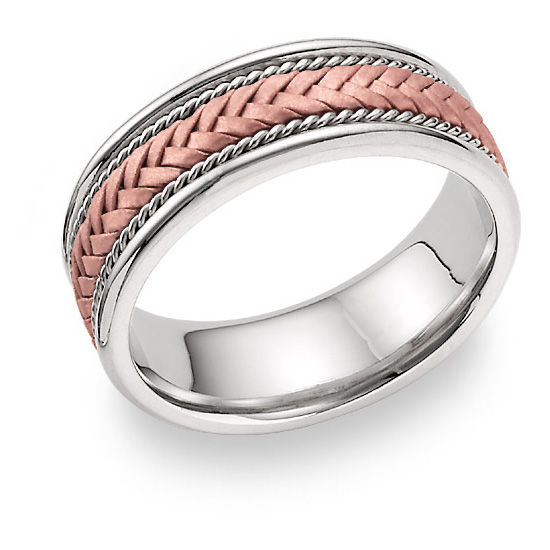 14K Rose Gold Braided Wedding Band Ring