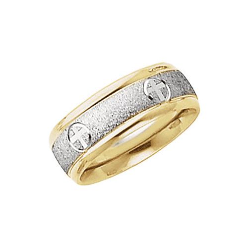 Sandblasted Christian Cross Wedding Band Ring, 14K Two-Tone Gold