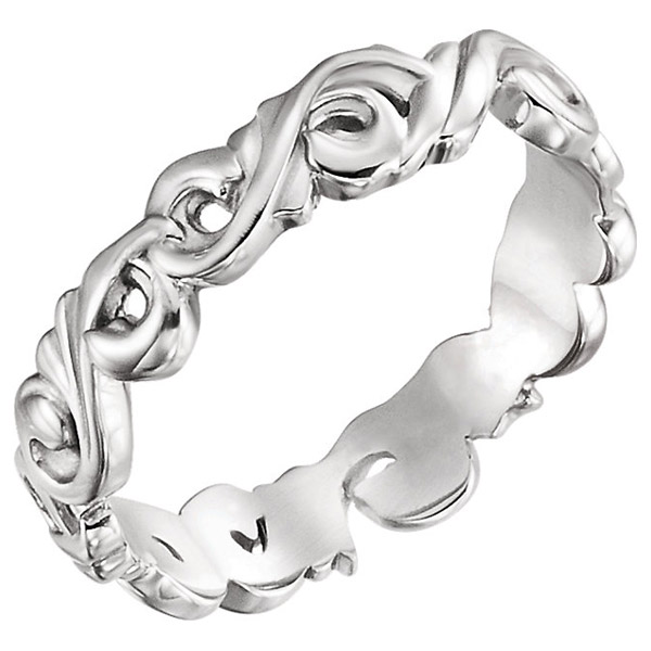 Scroll Design Wedding Band Ring, 14K White Gold