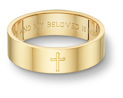 Song of Solomon Bible Verse Cross Wedding Band Ring, 14K Yellow Gold