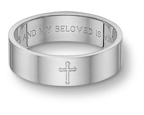 Cross Bible Verse Wedding Band Ring 14K White Gold