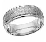 Silver Texture-Cut Wedding Band Ring