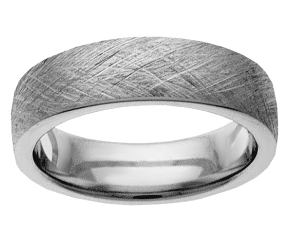 White Gold Textured Wedding Band Ring
