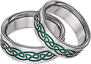 Green Titanium Celtic Wedding Band Set