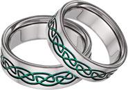 Green Titanium Celtic Wedding Band Set