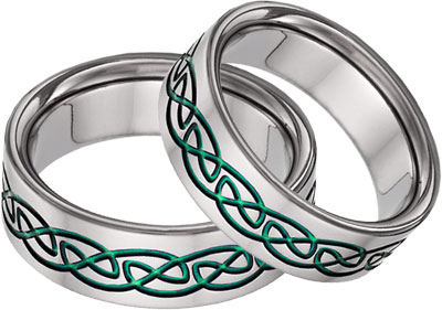 Green Titnaium Celtic Wedding Band Set