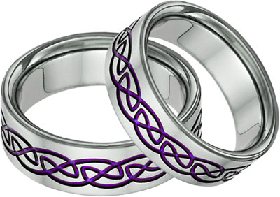 Purple Titanium Celtic Knot Wedding Band Set