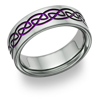 Purple Titanium Celtic Wedding Band Ring