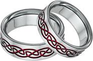 Red Titanium Celtic Knot Wedding Band Set