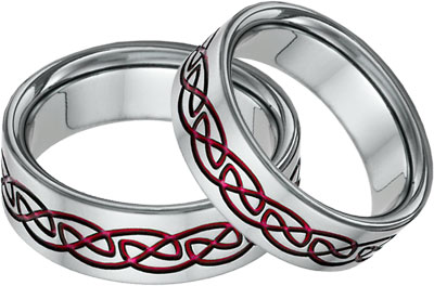 red titanium celtic knot wedding band set - Red Wedding Rings