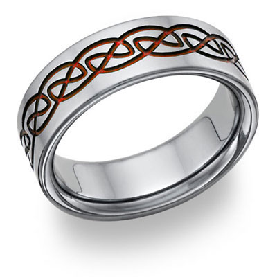 Red Titanium Celtic Wedding Band Ring